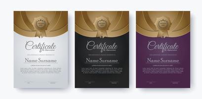 conjunto de design de modelo de certificado dourado premium vetor
