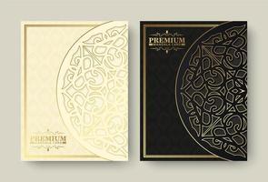 design de menu de mandala premium de luxo vetor