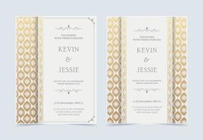 convite de casamento luxuoso branco com padrão dourado vetor