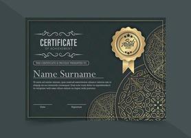 modelo de design de certificado étnico elegante vetor