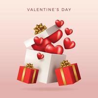 design do dia dos namorados. caixas de presentes vermelhas realistas. Abra a caixa de presente cheia de objetos decorativos festivos. banner de férias, cartaz da web, folheto, brochura elegante, cartão de felicitações, capa. fundo romântico vetor