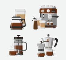 conjunto de máquina de café e expresso vetor