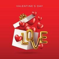 feliz Dia dos namorados. ouro metálico texto amor, fundo vermelho vetor