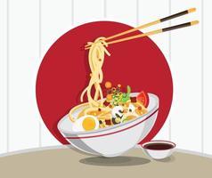 sopa tradicional chinesa com macarrão vetor