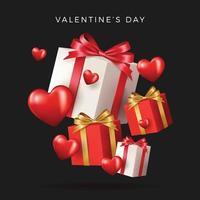 design do dia dos namorados com caixas de presentes vermelhas realistas vetor