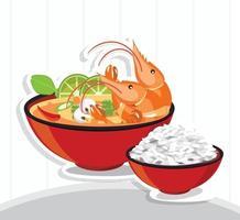 sopa picante tom yum kung thai e arroz vetor