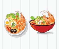 Conjunto de vetores de sopa picante tailandesa tom yum kung
