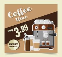 desenho de banner da hora do café vetor