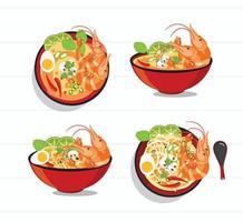 conjunto de sopa picante tailandesa tom yum kung vetor