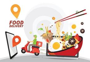 design de serviço de entrega de comida vetor