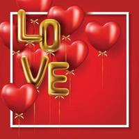 feliz dia dos namorados banner e balões vetor