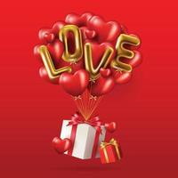 banner feliz dia dos namorados com balões um presente vetor