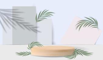 pódio de madeira e folhas em um fundo branco. vetor