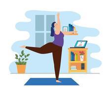 jovem praticando ioga na sala de estar