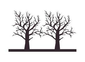 ícones isolados de árvores secas de halloween vetor