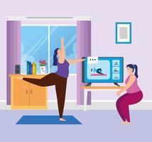 mulheres praticando ioga online na sala de estar