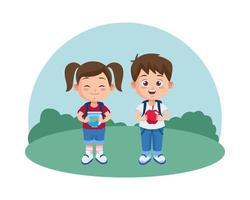 menina bonitinha com aquário e menino segurando uma maçã vetor