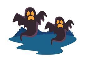 fantasmas de halloween flutuando ícones isolados vetor