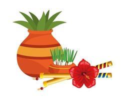 planta de casa em vaso de cerâmica e varas com flor vetor