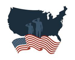 silhuetas de soldados no mapa e bandeira dos estados unidos da américa vetor