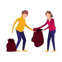 casal com saco de lixo plástico