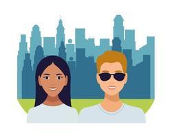 personagens de avatares de casal interracial, mulher latina e homem caucasiano vetor