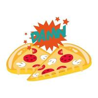 fatias de pizza e design pop art da maldita palavra exclamação vetor