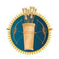 arco e flecha dourados, ícones da religião hindu vetor