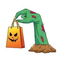 mão de zumbi com ícone de sacola de compras de halloween vetor