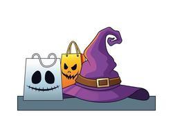 chapéu de bruxa de halloween com sacolas de compras vetor