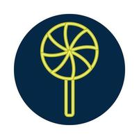 ícone de doce pirulito neon vetor