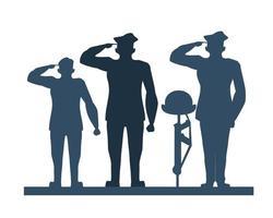 grupo de soldados saudando silhueta vetor
