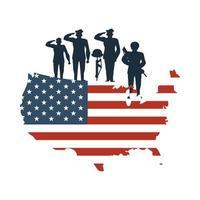 silhuetas de soldados no mapa com a bandeira dos estados unidos da américa vetor
