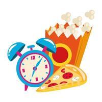 caixa pop orn com despertador e fatia de pizza vetor