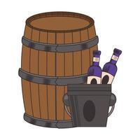 barril de madeira de vinho e design de garrafas vetor
