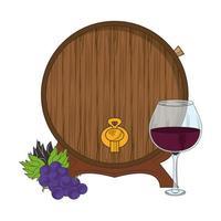 barril de madeira e taça de vinho vetor