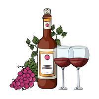 copo de vinho e garrafa com uvas vetor