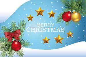 cartão de feliz natal com decoração de bolas e estrelas vetor