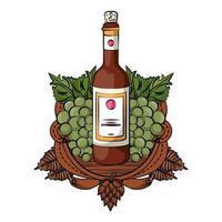 garrafa de vinho com uvas e barril vetor