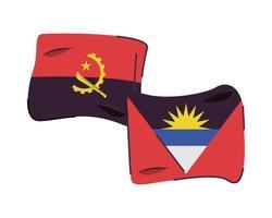 Antígua e Barbuda com ícone de bandeiras de angola vetor