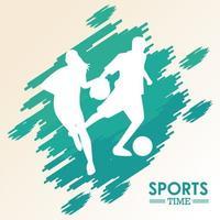 mulher atlética jogando basquete e homem jogando futebol silhuetas vetor