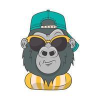 gorila engraçado com óculos de sol estilo cool vetor