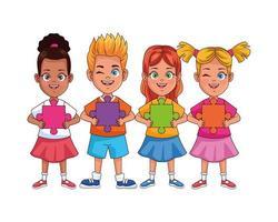 crianças inter-raciais felizes com personagens de peças de quebra-cabeça vetor