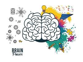 poster de poder do cérebro com respingos de cores vetor