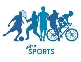 pôster de esportes com silhuetas de atletas azuis vetor