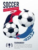pôster de esporte da liga de futebol com bolas vetor
