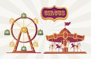 carrossel de feira de festival e roda da fortuna vetor