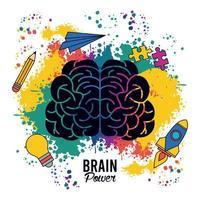 poster de poder do cérebro com respingos de cores e conjunto de ícones criativos vetor