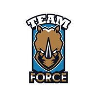Ícone de emblema de animal de cabeça de rinoceronte com letras de força de equipe vetor