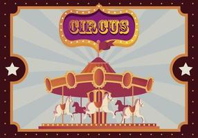 carrossel de feira de festival com banner vetor